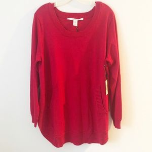 MAX STUDIO CHERRY RED SPRING NWT SWEATER 1X